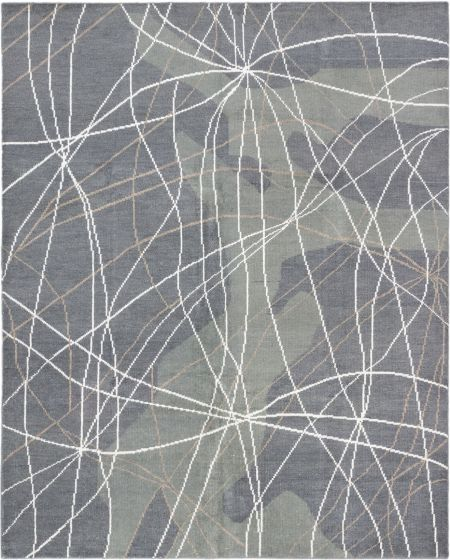 Contemporary Grey Area rug 6x9 Indian Hand-knotted 181089