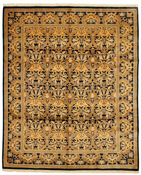 Bordered  Transitional Blue Area rug 6x9 Pakistani Hand-knotted 331181