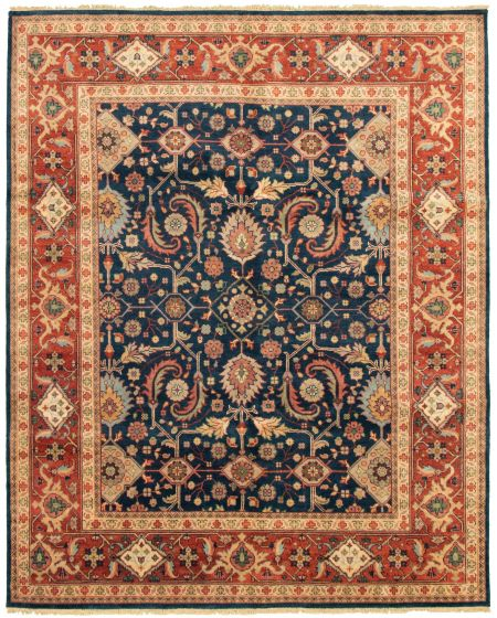 Bordered  Traditional Blue Area rug 6x9 Indian Hand-knotted 331897