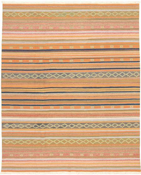 Bohemian  Transitional Orange Area rug 6x9 Turkish Flat-weave 335884