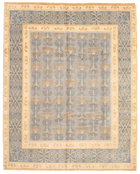 Bordered  Transitional Grey Area rug 6x9 Nepal Hand-knotted 337561