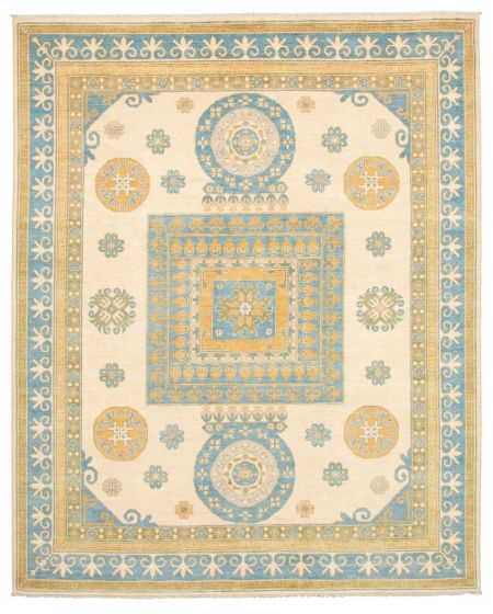 Bordered  Traditional Ivory Area rug 6x9 Pakistani Hand-knotted 338759