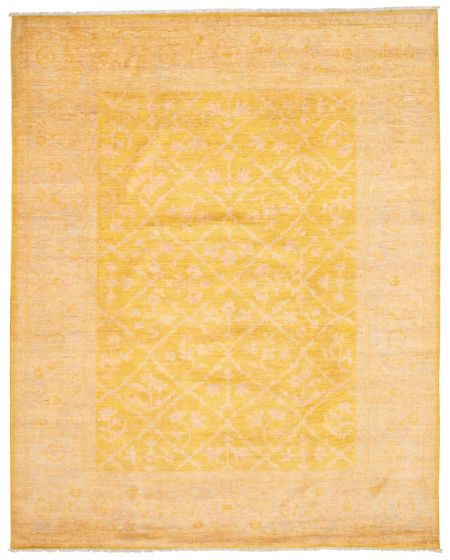 Bordered  Transitional Yellow Area rug 6x9 Pakistani Hand-knotted 338777