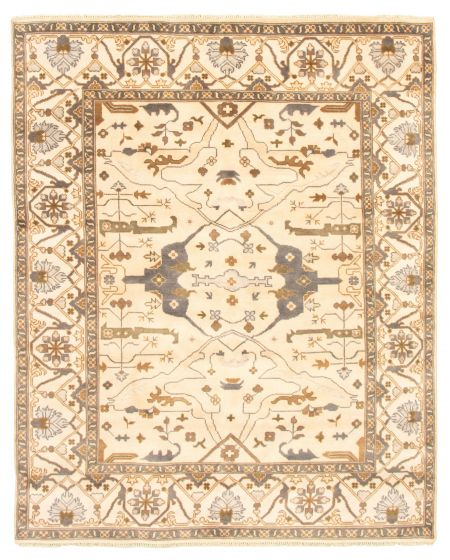 Bordered  Traditional Ivory Area rug 6x9 Indian Hand-knotted 344818