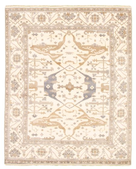 Bordered  Traditional Ivory Area rug 6x9 Indian Hand-knotted 344890
