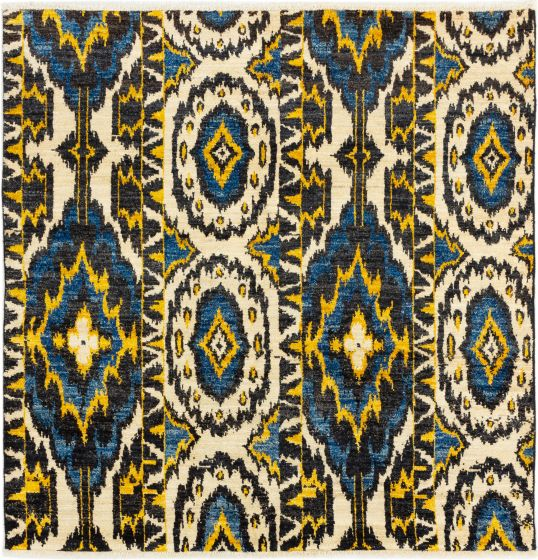 Casual  Transitional Ivory Area rug Square Indian Hand-knotted 280287