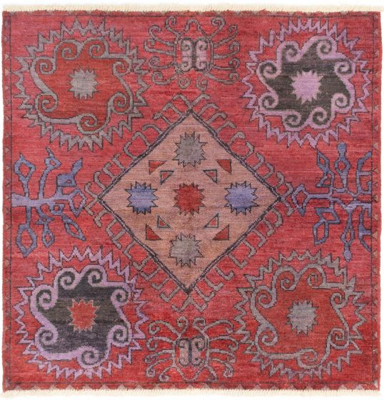 Casual  Transitional Red Area rug Unique Indian Hand-knotted 280519