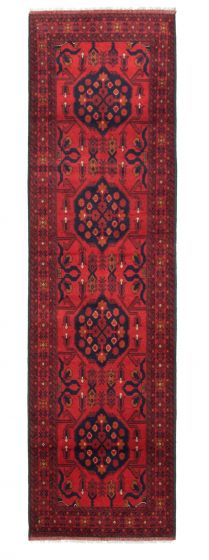 Bordered  Traditional Red Runner rug 10-ft-runner Afghan Hand-knotted 342290