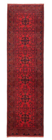 Bordered  Traditional Red Runner rug 10-ft-runner Afghan Hand-knotted 342307