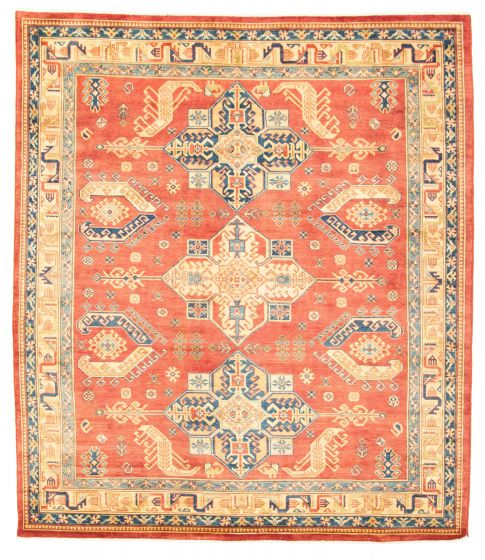 Geometric  Traditional Red Area rug 6x9 Afghan Hand-knotted 312278