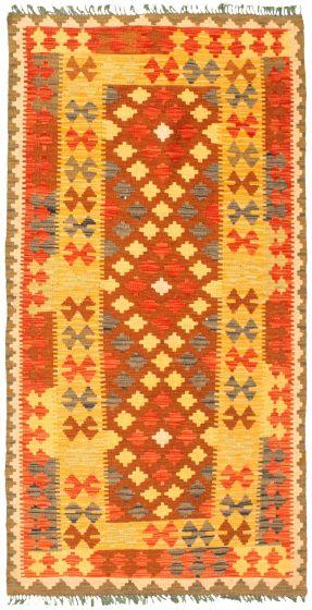 Bordered  Geometric Brown Area rug 4x6 Turkish Flat-weave 330003