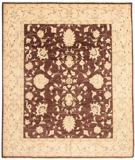 Bordered  Traditional Brown Area rug 6x9 Afghan Hand-knotted 331612