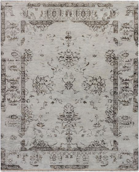 Transitional Grey Area rug 6x9 Indian Hand-knotted 186819