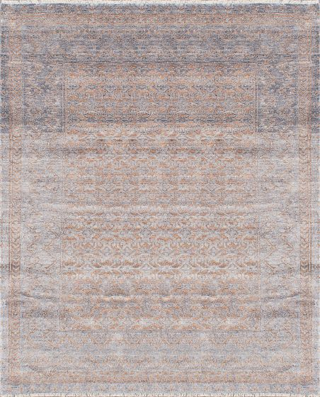Transitional Grey Area rug 6x9 Indian Hand-knotted 222674