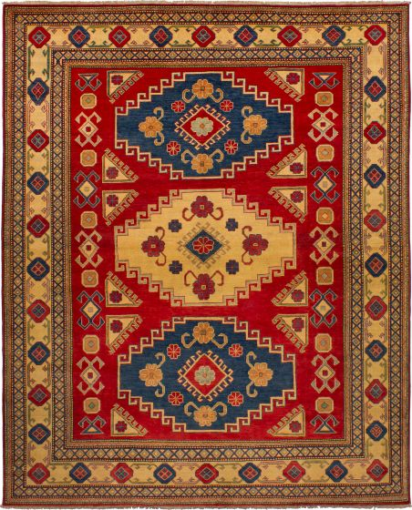 Bordered  Traditional Red Area rug 6x9 Afghan Hand-knotted 272549