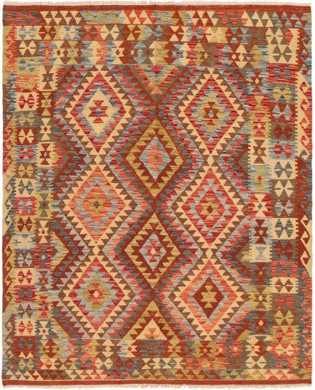 Bordered  Geometric Red Area rug 4x6 Turkish Flat-weave 297541