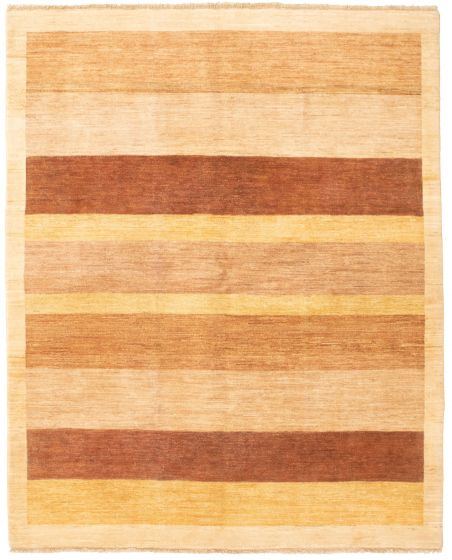 Bordered  Transitional Ivory Area rug 6x9 Pakistani Hand-knotted 330335