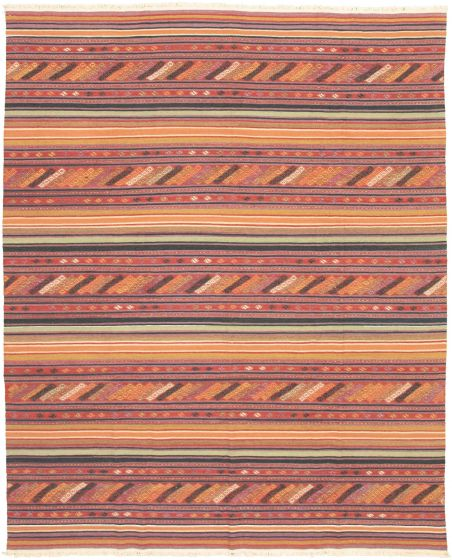 Bohemian  Transitional Red Area rug 6x9 Turkish Flat-weave 335874