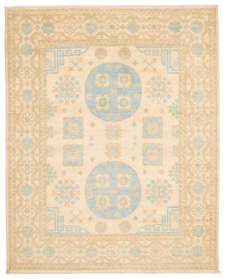 Bordered  Transitional Ivory Area rug 6x9 Pakistani Hand-knotted 338763