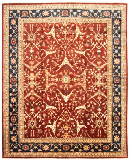 Bordered  Traditional Red Area rug 12x15 Afghan Hand-knotted 339159