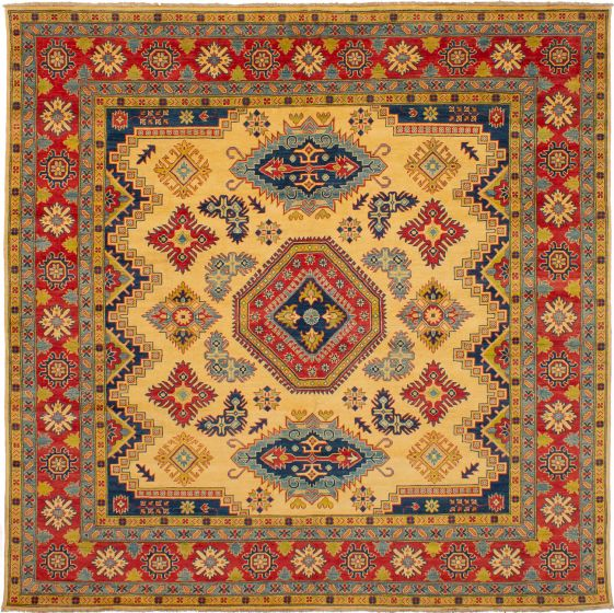 Bordered  Traditional Ivory Area rug Square Afghan Hand-knotted 272465