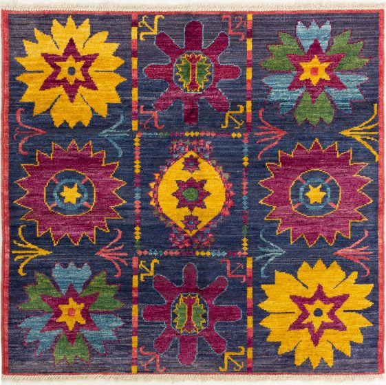 Bordered  Transitional Blue Area rug Square Indian Hand-knotted 280272