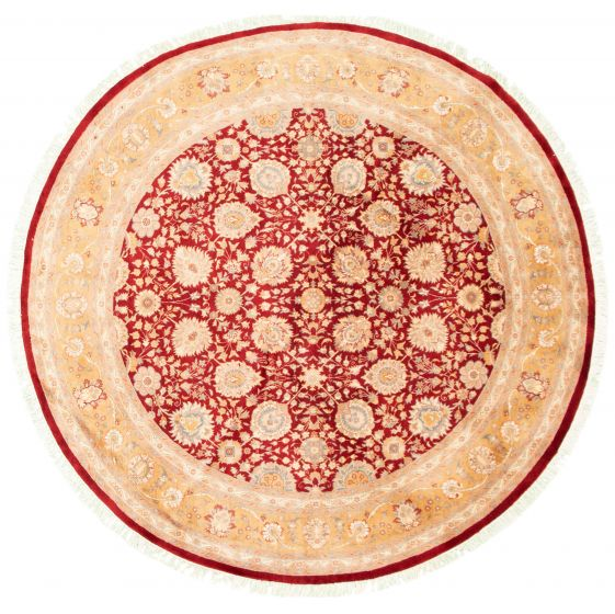 Bordered  Traditional Red Area rug Round Pakistani Hand-knotted 336058