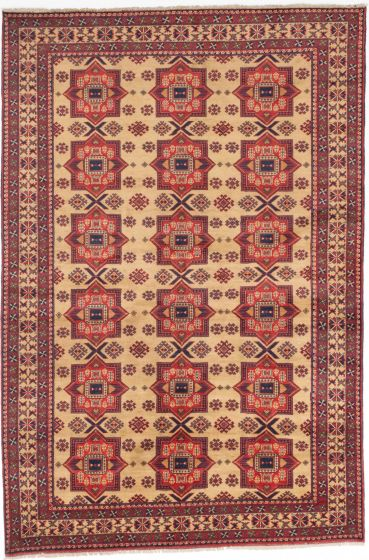 Traditional Ivory Area rug 6x9 Afghan Hand-knotted 203197