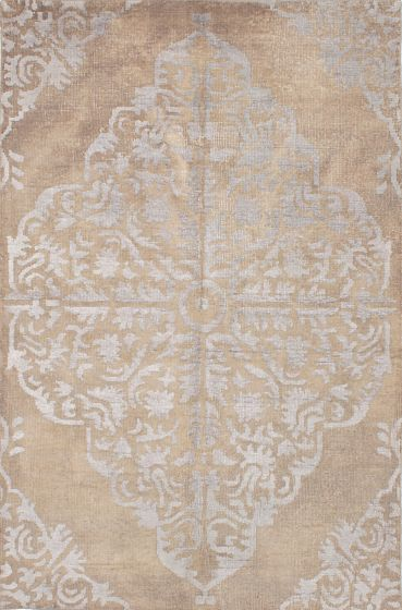 Transitional Ivory Area rug 6x9 Indian Hand-knotted 221932