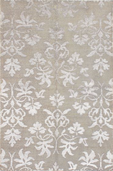 Transitional Green Area rug 5x8 Indian Hand-knotted 221935