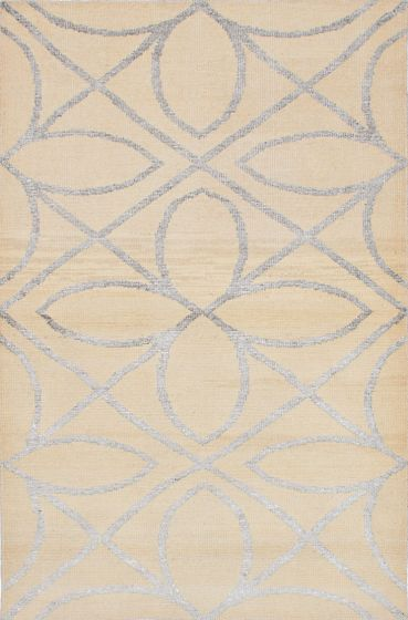 Transitional Ivory Area rug 5x8 Indian Hand-knotted 222009