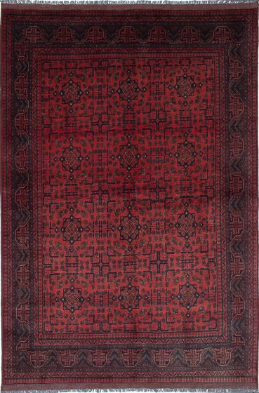 Traditional Brown Area rug 5x8 Afghan Hand-knotted 222055