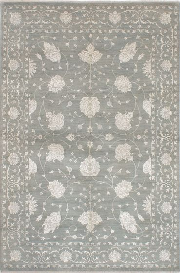Traditional Blue Area rug 5x8 Indian Hand-knotted 223960