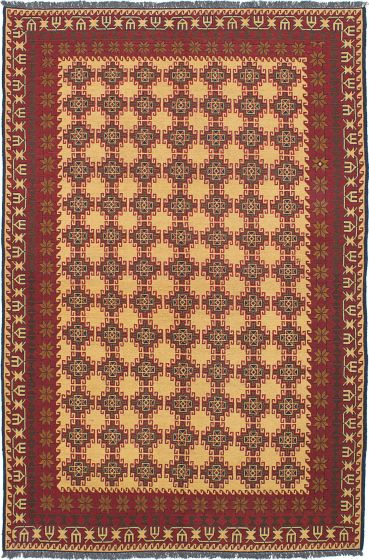 Flat-weaves & Kilims  Traditional Yellow Area rug 6x9 Afghan Flat-weave 230570