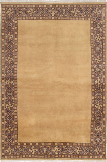Transitional Brown Area rug 5x8 Pakistani Hand-knotted 230692