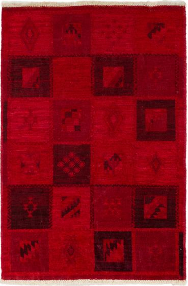 Casual  Transitional Red Area rug 3x5 Indian Hand-knotted 280038