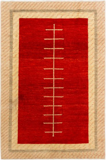 Bordered  Transitional Red Area rug 5x8 Afghan Hand-knotted 280229