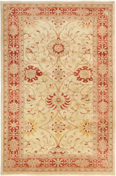 Bordered  Traditional Ivory Area rug 5x8 Turkish Hand-knotted 280747