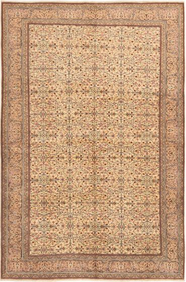 Bordered  Floral Ivory Area rug 6x9 Turkish Hand-knotted 280999