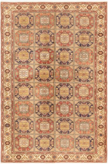 Bordered  Traditional Brown Area rug 6x9 Turkish Hand-knotted 281028