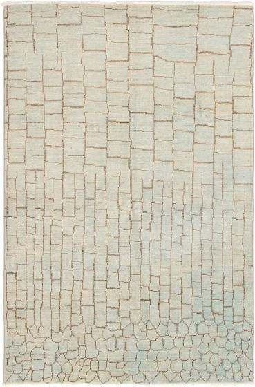 Casual  Transitional Blue Area rug 5x8 Indian Hand-knotted 292889