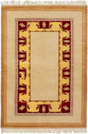 Bordered  Traditional Ivory Area rug 5x8 Turkish Hand-knotted 293281