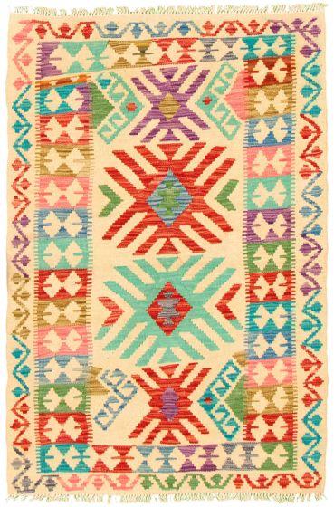 Flat-weaves & Kilims  Geometric Ivory Area rug 3x5 Turkish Flat-weave 330176