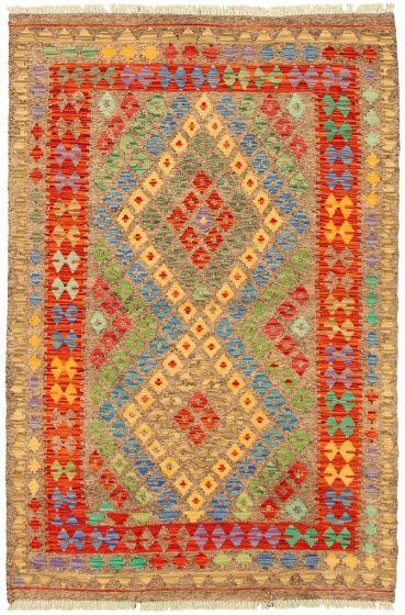 Bordered  Geometric Grey Area rug 3x5 Turkish Flat-weave 330206