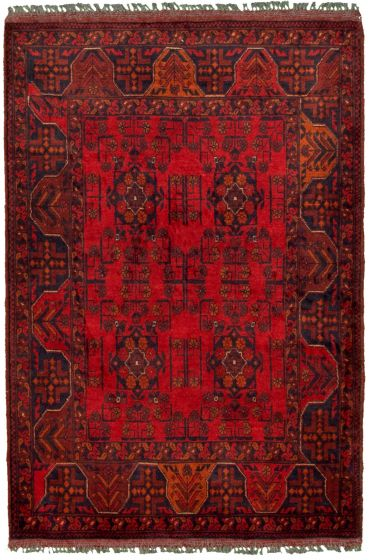 Bordered  Tribal Red Area rug 3x5 Afghan Hand-knotted 330268