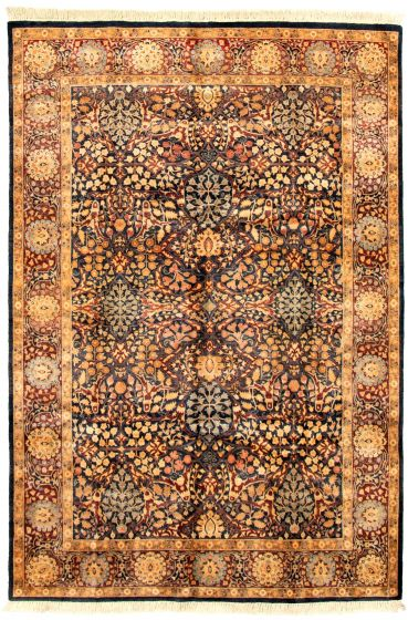 Bordered  Traditional Blue Area rug 5x8 Pakistani Hand-knotted 330491