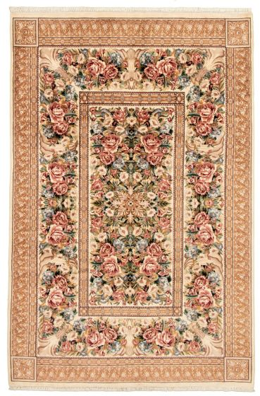 Bordered  Traditional Ivory Area rug 5x8 Pakistani Hand-knotted 330532