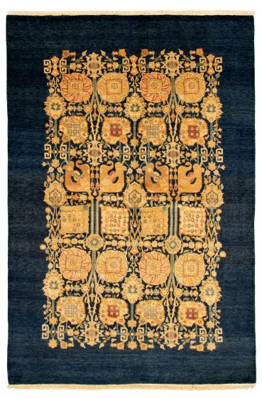Floral  Transitional Blue Area rug 5x8 Pakistani Hand-knotted 331510