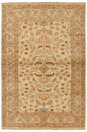 Bordered  Traditional Ivory Area rug 3x5 Afghan Hand-knotted 336246