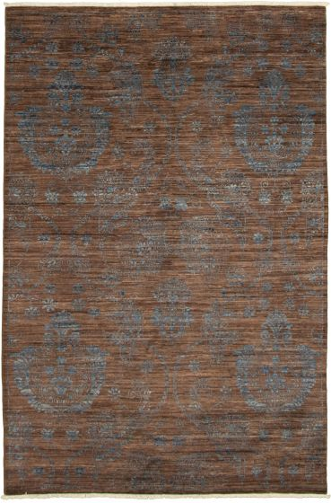 Casual  Transitional Brown Area rug 5x8 Pakistani Hand-knotted 339021